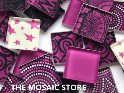 Handmade Hot Pink Glass Mosaic Tiles 2.5cm - Supplies Art & Craft