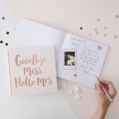 Rose Gold Foiled Goodbye Miss Hello Mrs Advice Hen Party Guest Book Team Bride
