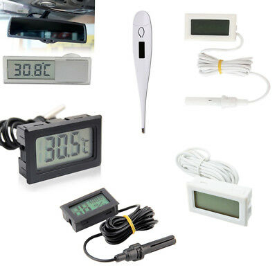 Aquarium Temperature Gauge LCD Digital Thermomer Black/White BSG
