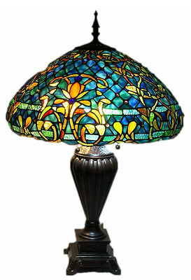 "Tiffany Style Stained Glass Table Lamp ""Azure Sea"" w/ 20"" Shade"