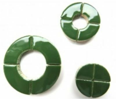 Dark Green Ceramic Circle Bits | Mosaic Tiles Supplies Art Craft