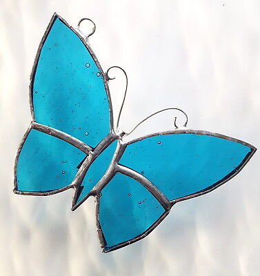 Turquoise garden Butterfly stained glass suncatcher window hanging