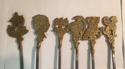 Set of 6 vintage brass skewers, shish kabob style. Very Unique!