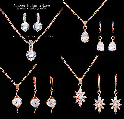 18k Rose Gold Bridal Bridesmaid Necklace Earrings Jewellery Set Wedding Jewelry