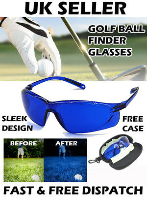 Golf Ball Finder Glasses Locator Retriever Blue Hawk Sleek Design Carry Case UK