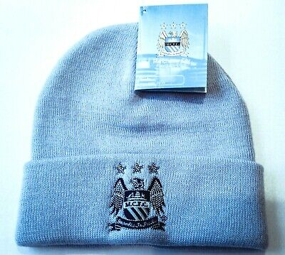 Manchester City FC Knitted Bronx Beanie Official Turn Up Cuff Sky Blue Hat BNWT