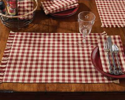 Set of 4 Park Designs Country Red and Tan Check Placemats - GINGHAM