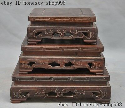 """8""""Rare Old Chinese Huanhuali wood Hand-Carved Bonsai Potted Pedestal Bases set"""
