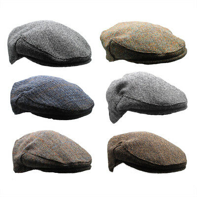 New Country 100% Scottish Harris Tweed Flat Cap - Choice of Classic Colours
