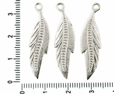 31mm Lady-Muck3 Antique Silver Tone Alloy European Feather Dangle Beads