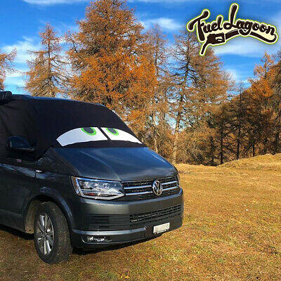 VW Transporter T6 Front Window Screen Cover Black Out Blind Frost Eyes Green