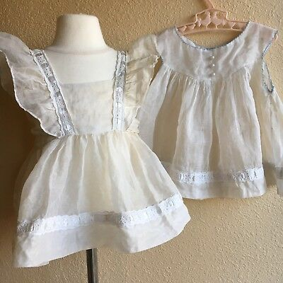 Rare Vintage Lot NEW Old Stock White Pinafore Walter Munro Dress NOS Sheer Apron