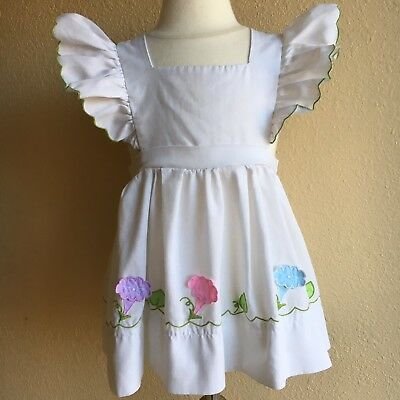 Vintage NANNETTE Brand White Pinafore Dress Embroidered Pink Floral Party