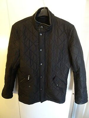 Mens Barbour Powell Black Quilted Jacket VGC - Size Small