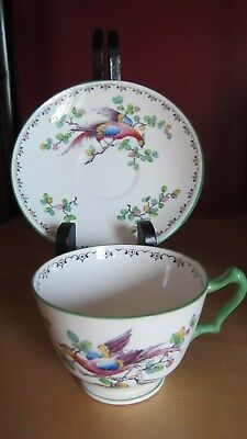 Crown Staffordshire Tea Cup And Saucer. Peacock - Stunning