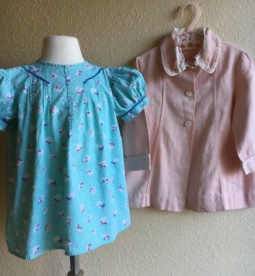 Vintage Lot Novelty Print Dress W/ Jacket Pink Blue Handmade Girls Party