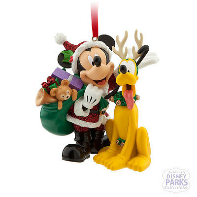 Disney Parks Christmas Ornament Santa Mickey Mouse and Reindeer Pluto