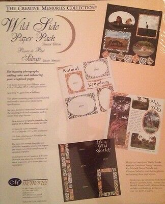 "New In Pkg Creative Memories Wild Side Paper Pack:12 Sheets/6 Colors/10""x12"""