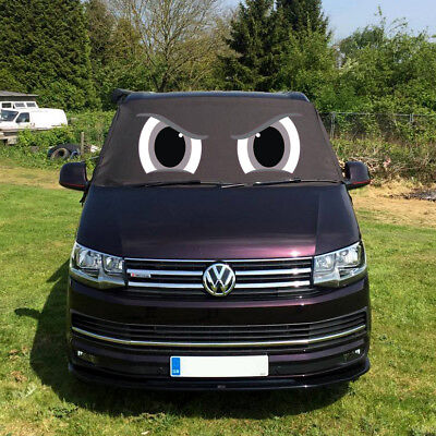 VW Screen Cover Transporter T6 Front Window Black Out Blind Frost Eyes Grey