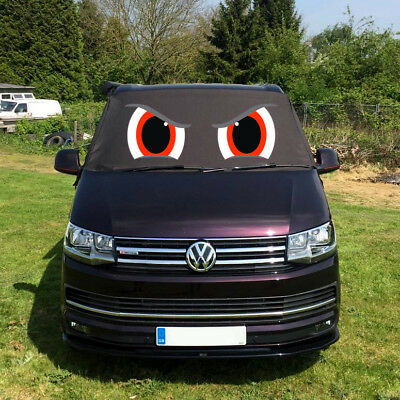 VW Transporter T6 Front Window Screen Cover Black Out Blind Frost Eyes Red