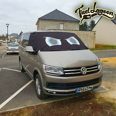 VW Transporter T6 Front Window Screen Cover Black Out Blind Frost Eyes Blue