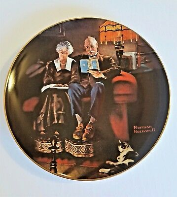 Vintage Norman Rockwell Evening's Eve Collector Plate Valentine Gift New in Box