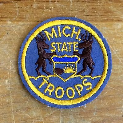 """WWII Michigan State Troops Vintage 40s Wool Felt 2 3/4"""" Patch"""