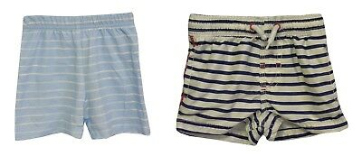 Baby Boys 2 Pairs Next George Blue White Stripe Shorts Age 3-6 Months