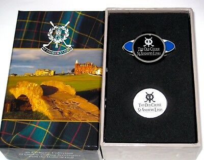 New✿St Andrews Old Course Links Tartan Collection 2 Ball Markers + Magnetic Clip