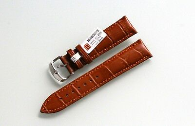 Genuine Leather Hightone Calfskin Camel Brown Watch Strap Model Croco Band 22 mm