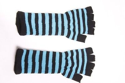 A Pair of Trendy Back and Blue Striped Medium Length Fingerless Gloves