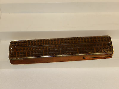 vtg cast iron? & WOODEN CRIBBAGE card game metal  BOARD 3 METAL PEGS old UNIQUE