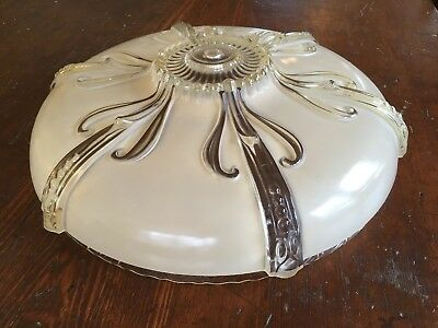 Vintage Art Deco 1930s Ceiling Light Shade Heavy Raised Glass Lovely Detail 15""