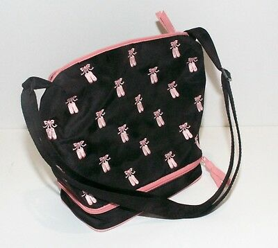 Horizon Dance Shoe Bag-Black with Embroidered Pink Ribbon Ballet Slippers