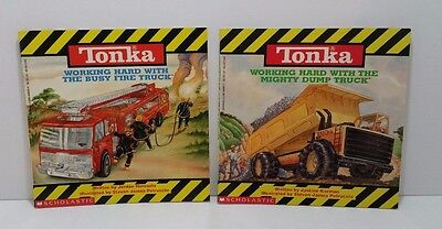 Tonka Toy Books Dump Truck and Fire Truck Scholastic 1993 Softcover