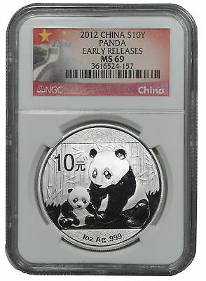 2012 China Silver 10 Yuan Panda, Early Releases NGC MS69
