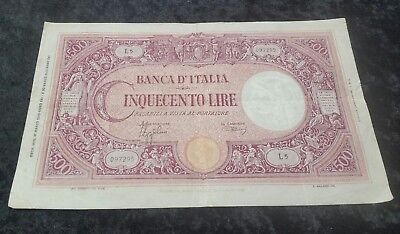 Italy 500 Lire 31-03-1943 Banknote Circulated