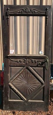 Ornate Antique Vintage Exterior Entrance way Wood Door  Glass Window w/ hardware