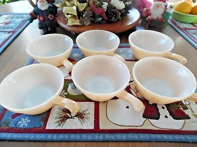 6 Fire King Peach Luster Handled Beehive Chili Soup Bowls