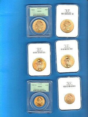 Beautiful Unique Huge Gold Coin Collection 20 Coins High Grades $2.5-$20 St.s