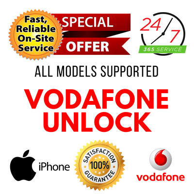 VODAFONE UK FACTORY UNLOCK SERVICE CODE for iPhone 4/4S/5/5S/5C/SE/6/6S/7/8 PLUS