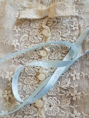 Antique/VTG Organdy Lace Panel Dress Front/Collar Sewing Doll Trim Ribbon Lot A9
