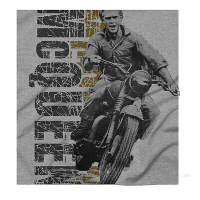 Steve McQueen Biker Motorcycle Cool Classic Retro Great Escape BSA Grey T-shirt