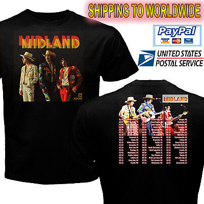 Bb0142 Midland On The Rocks In Concert Tour 2018 Black T-Shirt