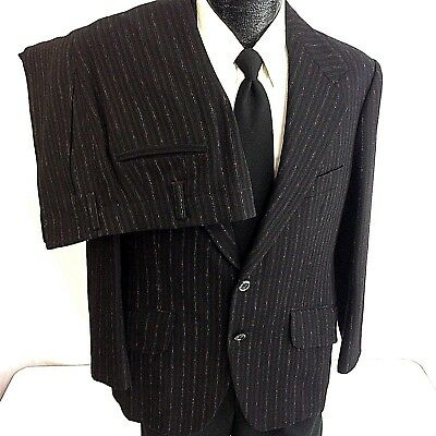 Vtg 50's BESPOKE Men VLV Black RED ATOMIC Hollywood FLECK ROCKABILLY Suit 38 R
