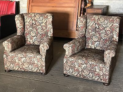 Pair Of Early 20th Century Upholstered Wingback Arms