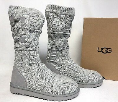 d2259e29c30 UGG AUSTRALIA KALLA Knit Sweater boots 1017498 Women's Seal Grey Gray Knot  sizes