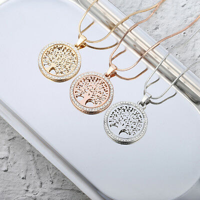 Silver Rose Gold Women's Tree of Life Crystal CZ Cubic Zirconia Pendant Necklace