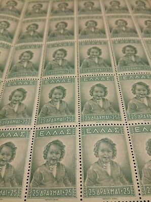 WW2 1943 Greece Greek children welfare Semi postal 25+25 Stamp sheet MNHOG