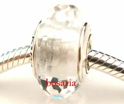 925 Sterling Silver Fascinating Clear Faceted Fit European Bead Charm Bracelet